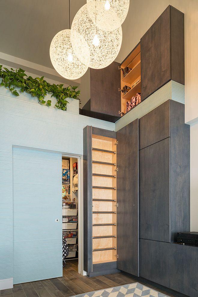 Richardson Lofts    Living Room Also Bang Concealed Ladder Custom Millwork Large Storage Space Media Storage Vines