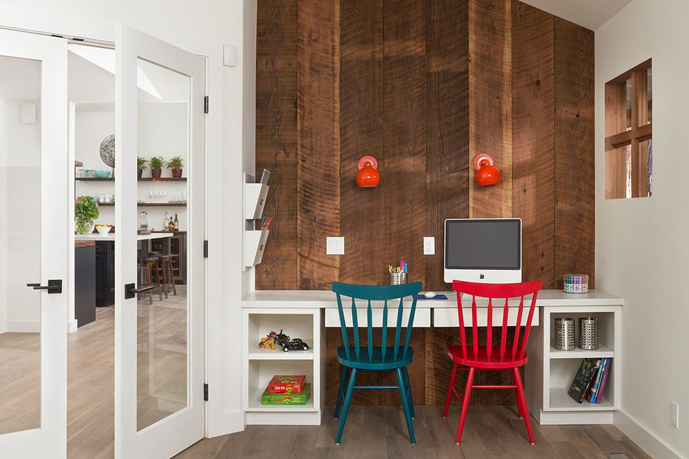 Richardson Lofts with Contemporary Kids Also Built in Desk Colorful Chairs Computer Desk Glass Doors Red Wall Sconces Shared Desk Storage Window Wood Wall
