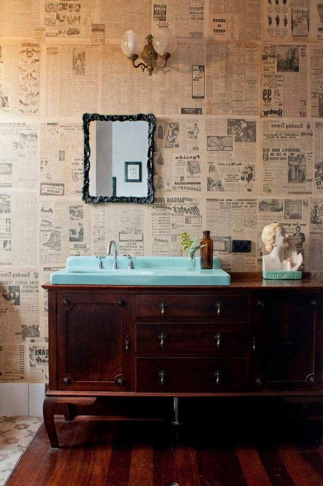 Right at Home Bedford Ma with Eclectic Bathroom  and Antique Blue Basin Framed Mirror Newspaper Wallpaper Wall Sconce