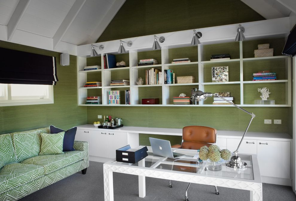 Right at Home Bedford Ma with Traditional Home Office Also Bright Colors Desk Green Interior Wallpaper Open Shelves Sofa Task Chair Task Lamp Throw Pillows Wall Lighting White Cabinets White Window Trim Window Shades