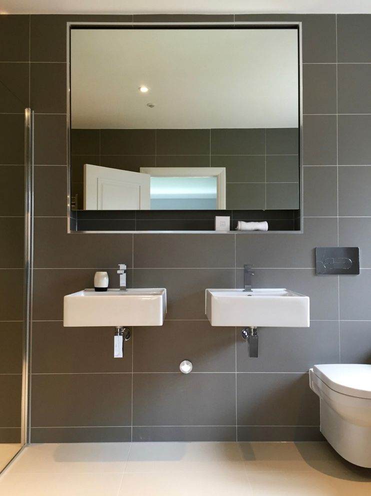 Right Away Disposal with Contemporary Bathroom Also Bathroom Mirror Double Sinks Dual Vanity Grey Bathroom Tile Grey Wall Tile Large Bathroom Mirror Minimalist Square Mirror Wall Mounted Sinks
