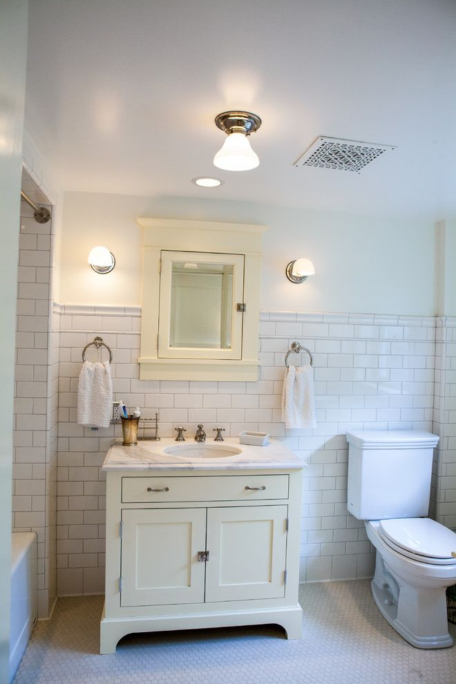 Rittenhouse Electric with Craftsman Bathroom and Book Shelf Breakfront Design Built in Medicine Cabinet Classic Design Fireplace Mantels Fireplace Screens Latches Octagon Tile Floor Pale Green Vanity Small Sconces Towel Rings White Subway Tile Walls