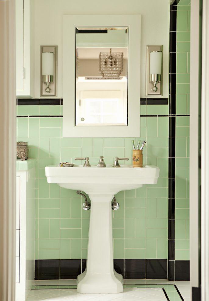 Rittenhouse Electric with Victorian Bathroom and Bathroom Lighting Bathroom Storage Bathroom Tile Deco Deco Bath Medicine Cabinet Mint Pedestal Pedestal Sink Sconce Tile Backsplash Tile Floor Wall Lighting