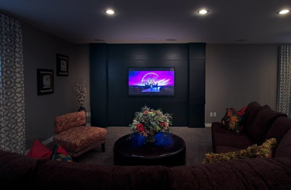 Riverpark Theater with Transitional Basement Also Basement Storage Custom Cabinets Game Storage Movie Storage Room Divider Storage Solutions Storage Space Theater Theater Room Toy Storage Under Stairs Wall Mounted Tv White Cabinets