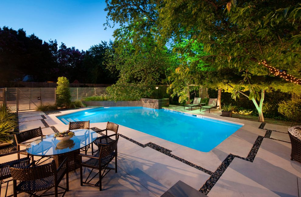 Riverstone Quartz   Contemporary Pool Also Aquatic Backyard Fence Hardscape Irregular Shaped Pool Landscape Outdoor Dining Pavers Poolside Retaining Wall River Rock Round Glass Table Water Feature