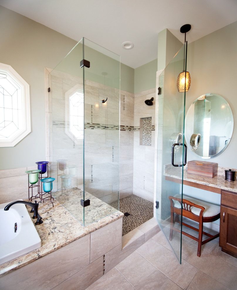 Riverstone Quartz with Traditional Bathroom  and Cambria Deck Clear Glass Frameless Shower Door Delta Shower Hand Held