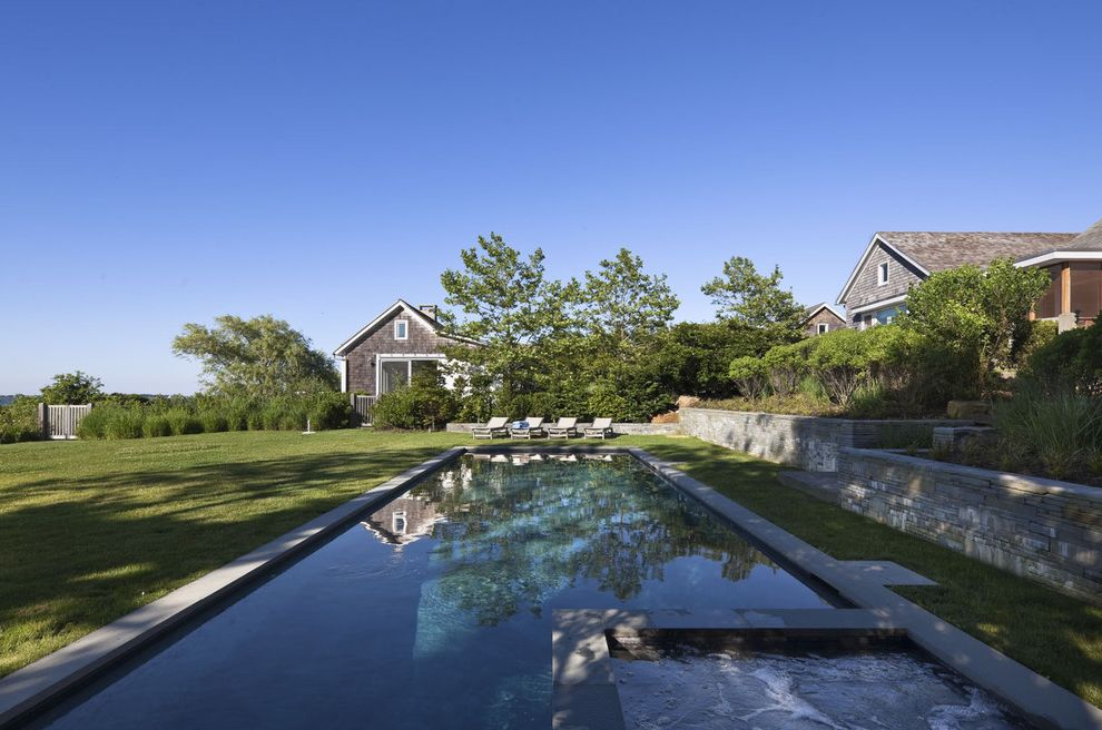 Roberts Pools   Beach Style Pool  and Compound Grass Hamptons Style Hot Tub Lawn Rectilinear Pool Stone Wall Terraced Turf