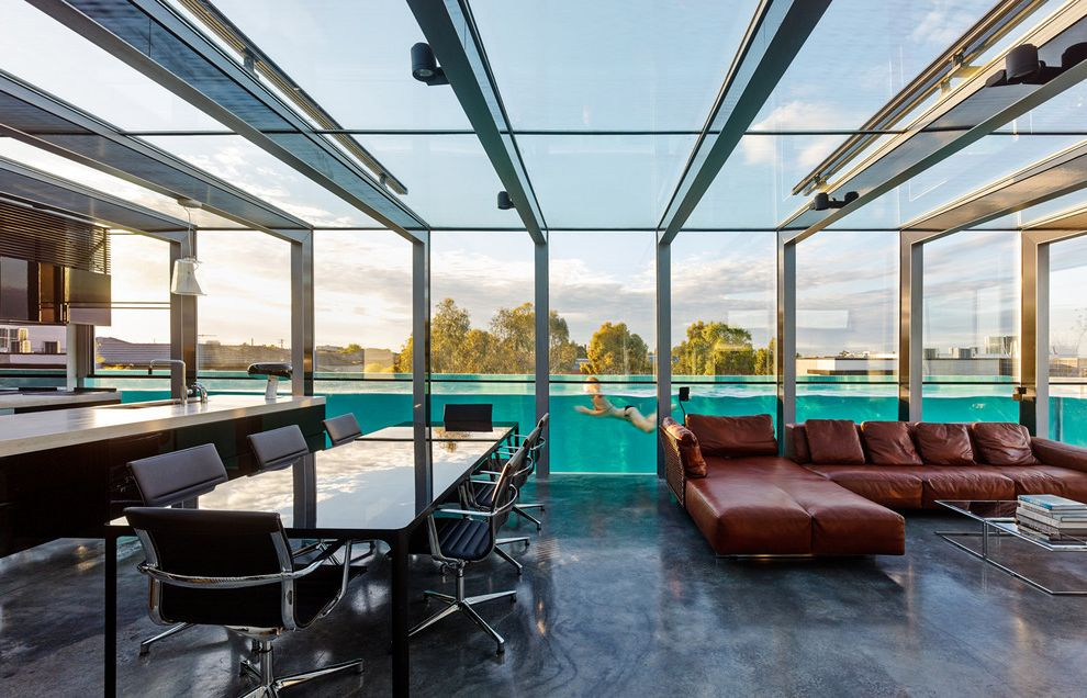Roberts Pools   Contemporary Living Room  and Adjacent Pool Glass Ceiling Glass Wall Leather Couch Pool Underwater View Pool View See Through Wall