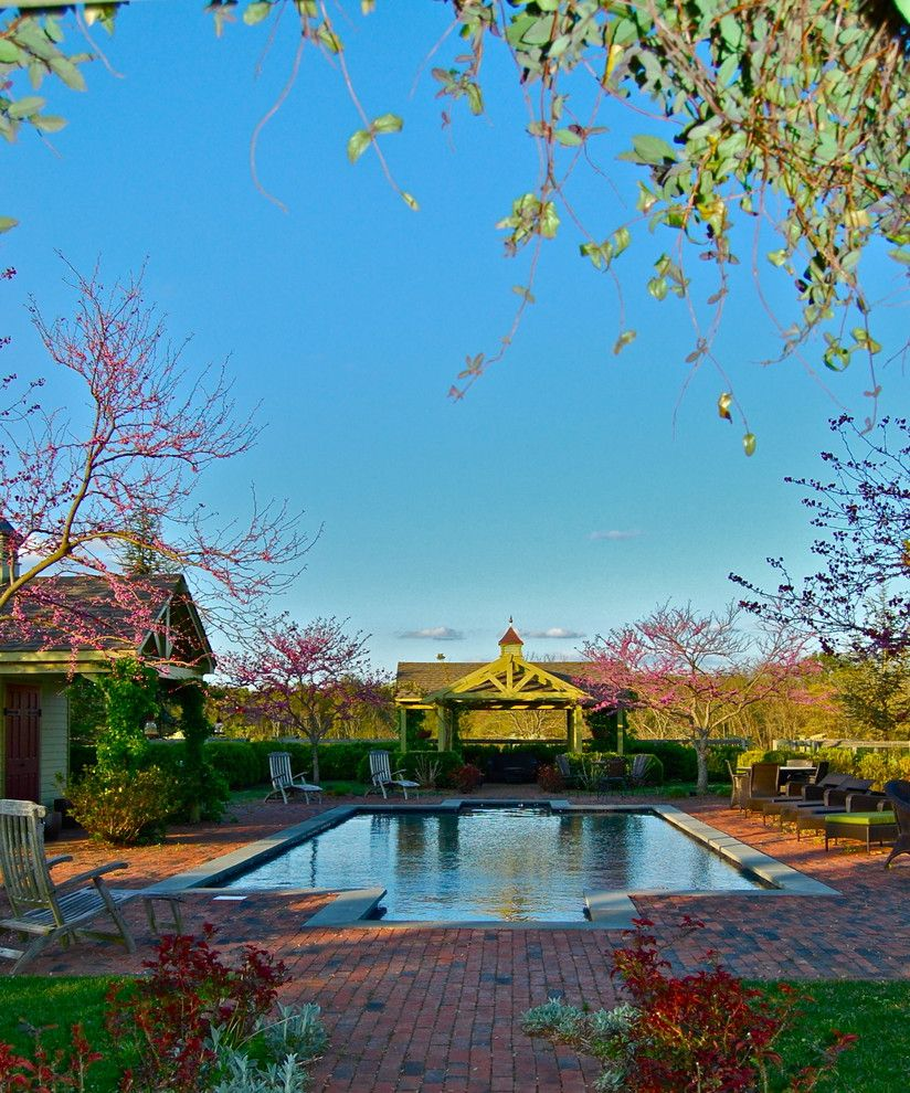 Roberts Pools    Spaces  and Bluestone Brick Brick Patio Cabana Design Garden Landscape Outdoor Chaise Lounge Outdoor Furniture Pergola Pool Pool Deck Pool House Poolscape Rectilinear Pool Reflecting Pool Swimming Pool Trees