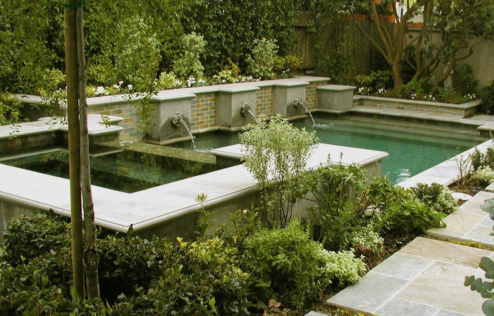 Roberts Pools   Traditional Pool Also Brick Wall Fountain Garden Wall Hot Tub Jacuzzi Path Pavers Planters Spa Walkway Water Feature