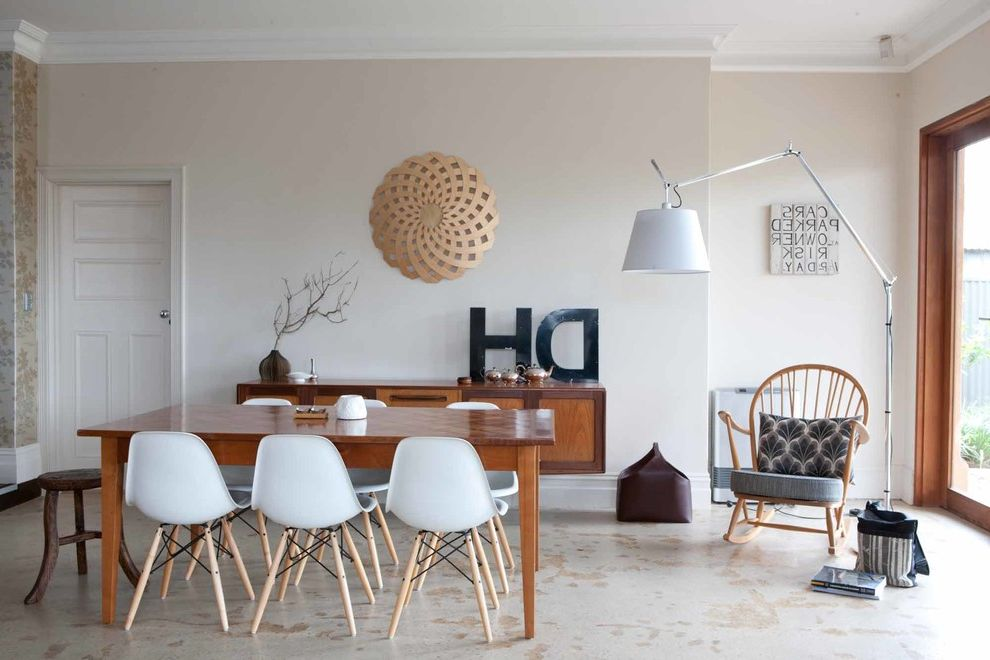 Rock Solid Floors   Midcentury Dining Room  and Danish Furniture Eclectic Floating Wooden Sideboard Mid Century Modern One Small Room Twiggy Floor Lamp White Eames Chair Wood Monogram Letter Wooden Dining Table Wooden Rocking Chair