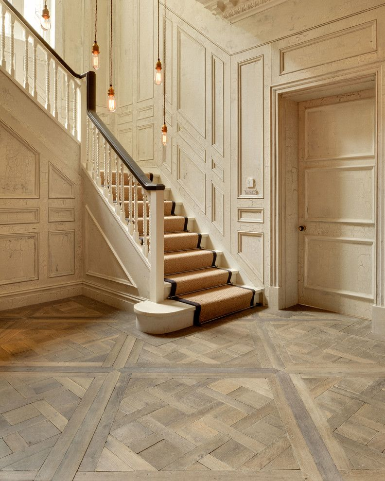 Rock Solid Floors   Traditional Entry  and Engineered Parquet Exposed Bulbs Exposed Pendants Hand Finished Panelled Walls Parquet Floor Parquet Flooring Parquet Wooden Floor Period Home Staircase Versailles Panels Wall Panels