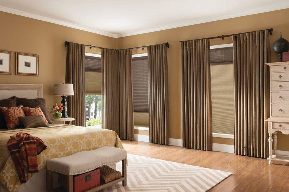Rock Solid Floors with Traditional Bedroom  and Bedroom Cellular Shades Chevron Rug Curtains Custom Drapery Drapery Drapes High End Curtain Drape Panels Roman Shades Shades Shutter Taupe Drapes Window Treatments