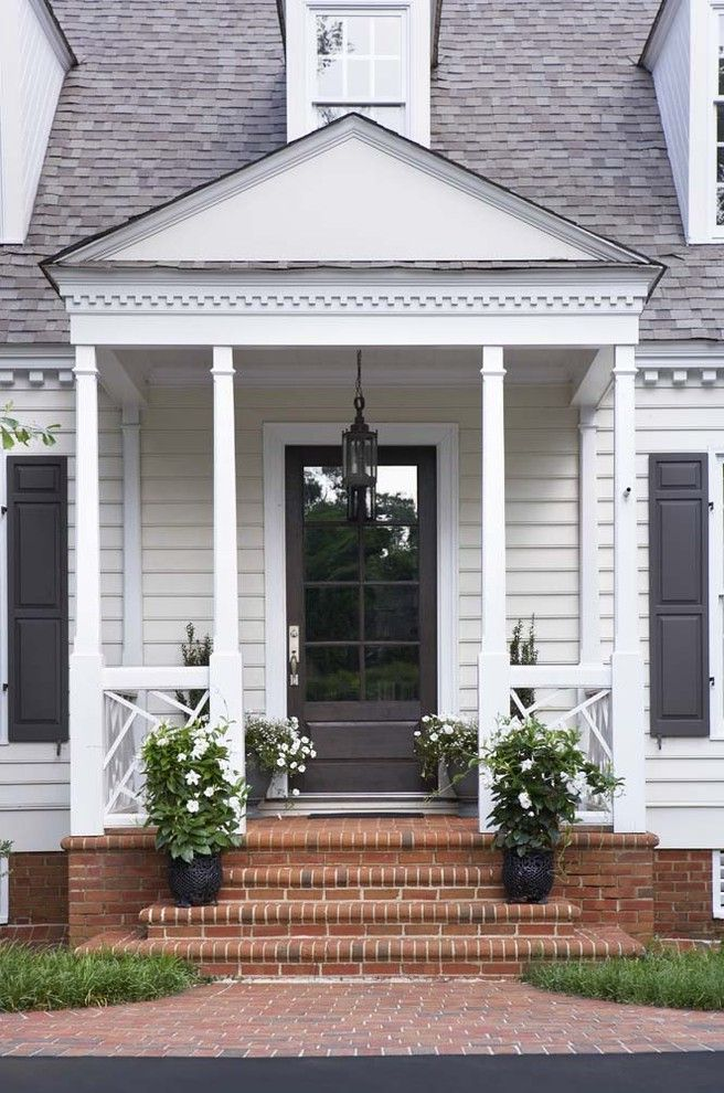Rogue Valley Doors   Transitional Porch  and Brick Paving Container Plants Dormers Entry Front Door Landscape Pendant Plants Porch Potted Plants Shutters Stairs Traditional
