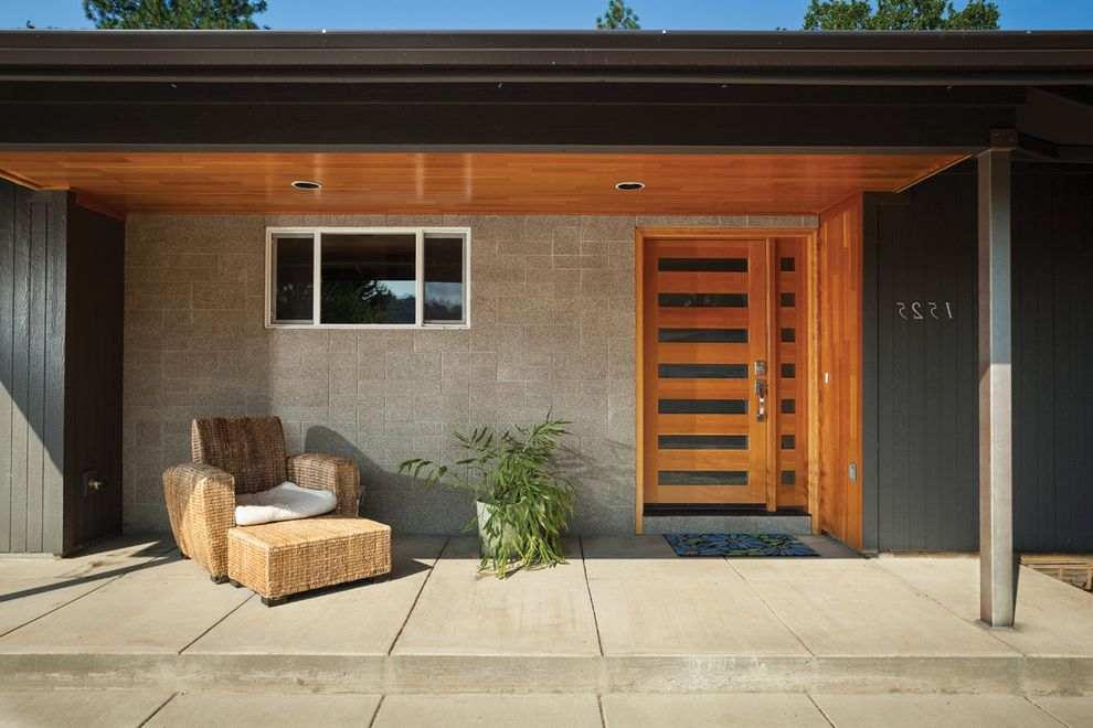 Rogue Valley Doors with Contemporary Entry Also Address Numbers Black Exterior Covered Entry Covered Porch Potted Plant Recessed Lighting Wicker Chair