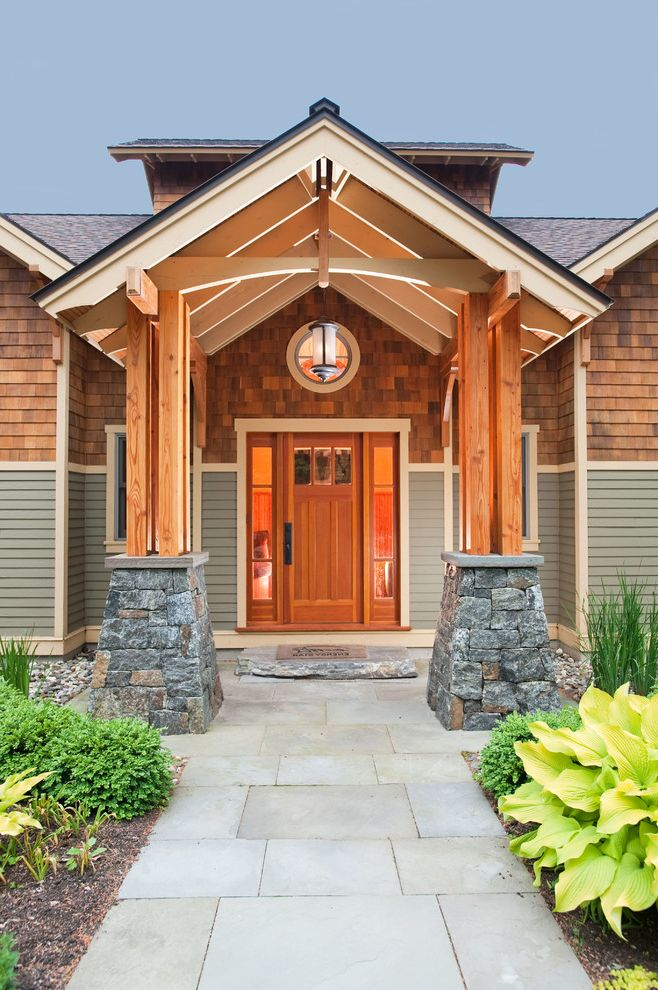 Rogue Valley Doors with Craftsman Entry Also Craftsman Front Door Front Entrance Front Porch Lantern Path Porch Round Window Shingle Shingle Roof Siding Stone Wood Beam Wood Door