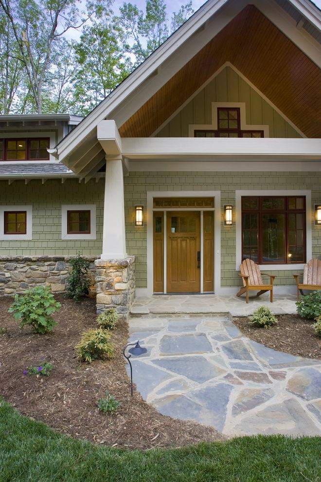 Rogue Valley Doors with Craftsman Exterior  and Adirondack Chairs Craftsman Entrance Entry Front Door Gable Roof Garden Lighting Grass Lawn Outdoor Lighting Path Patio Furniture Pavers Shingle Siding Stone Wall Turf Walkway