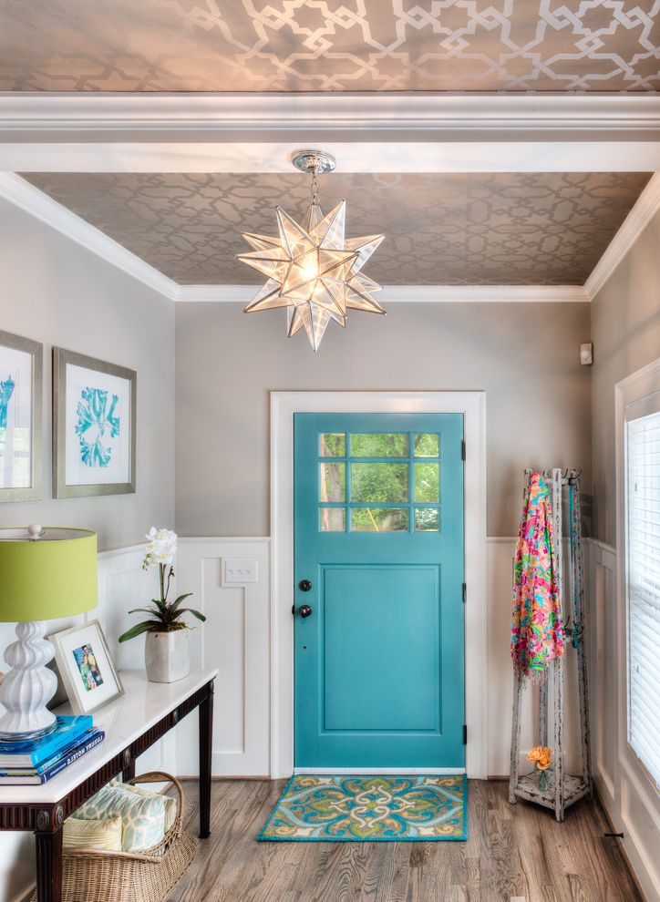 Rogue Valley Doors with Traditional Entry Also Bright Blue Coffered Ceiling Marble Top Console Marrovian Star Pendant Metallic Wallpaper Pop of Color Reclaimed Coat Rack Tray Ceiling Turquoise Door Wainscoting Wallpaper Ceiling