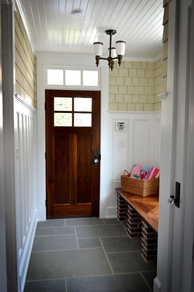 Rogue Valley Doors with Traditional Entry  and Beadboard Ceiling Bench Seat Brick Ceiling Lamp Dark Stained Wood Door Glass Door Knobs Shingles Tile Floor Transom Window Wainscot White Painted Wood