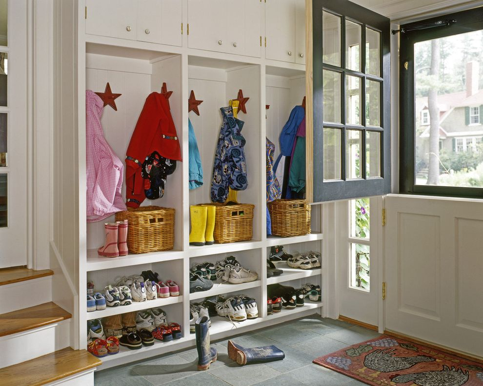 Rogue Valley Doors with Traditional Entry  and Built in Storage Built Ins Cape Coats Cottage Cubbies Dutch Door Entry Hanging Maine Mudroom New England Shoe Cubbies Shoe Storage Sidelights Slate