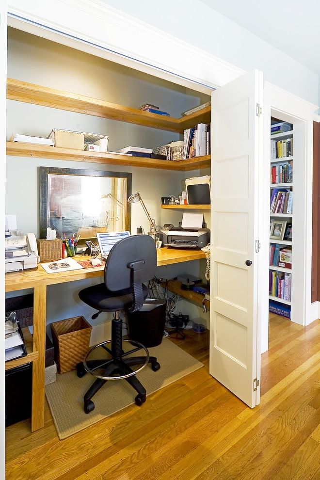 Rogue Valley Doors with Traditional Home Office  and Alcove Alcove Office Built in Closet Office Concealed Concealed Office Desk Lamp Grey Wall Niche Nook Shelving White Wood Wood Flooring Wood Trim