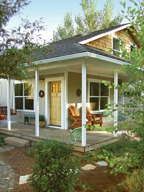 Rogue Valley Doors with Transitional Exterior  and Alder Door Cottage Cottage Porch Cottage Style Country Live Door Easy Living Front Porch Notty Alder Porch Swing Rogue Valley Rogue Valley Door Small House Small Porch