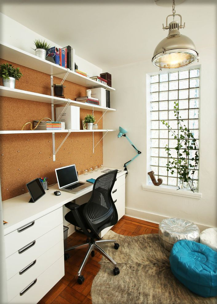 Rolling Whiteboard   Contemporary Home Office Also Area Rug Built in Bulletin Board Chair Computer Desk Cork Board Desk Desk Drawers Frosted Glass Knoll Chair Open Shelves Pendant Light Potted Plants Pouf Rolling Chair Shelving Window Sill Wood Floor