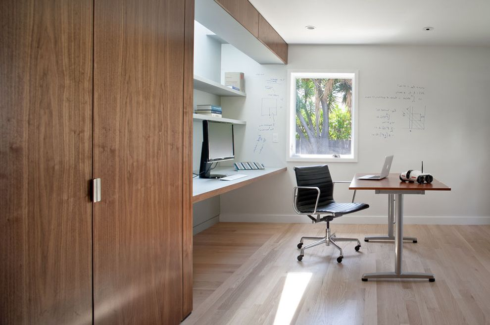 Rolling Whiteboard   Modern Home Office Also Cantilevered Desk Central Core Custom Workstation Dry Erase Paint Eames Chair Flooring Stained White Home Office Laminate Desk Laptop Pickled Oak Floors Robot Walnut Veneer Workspace Write on Walls