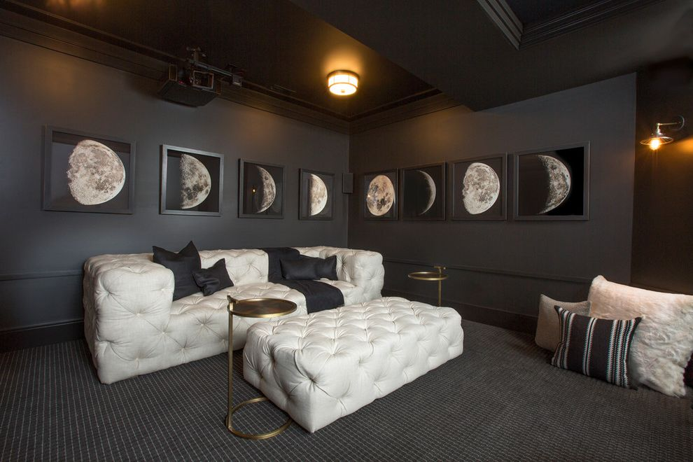 Romanelli and Hughes   Contemporary Home Theater Also Black Brass Carpeting Ceiling Light Dark Gray Gold Home Theater Phases of Moon Side Tables Tufted Leather White Floor Pillows