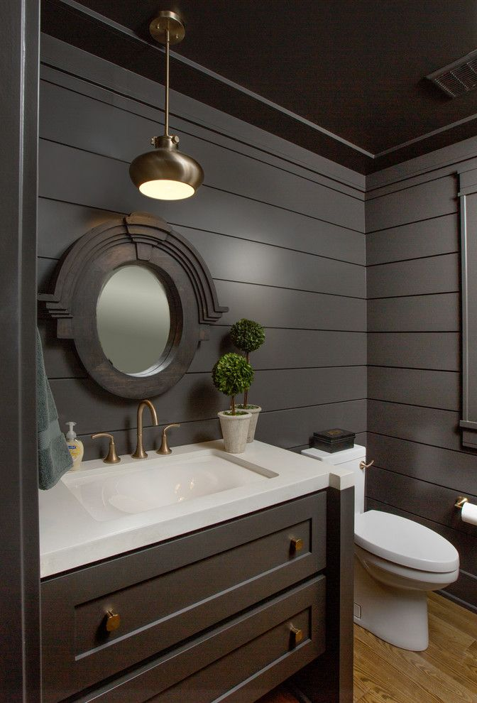 Romanelli and Hughes   Transitional Bathroom Also Brass Carved Wood Mirror Dark Dark Brown Pendant Light Single Sink Tongue and Groove White Counter Wood Floor