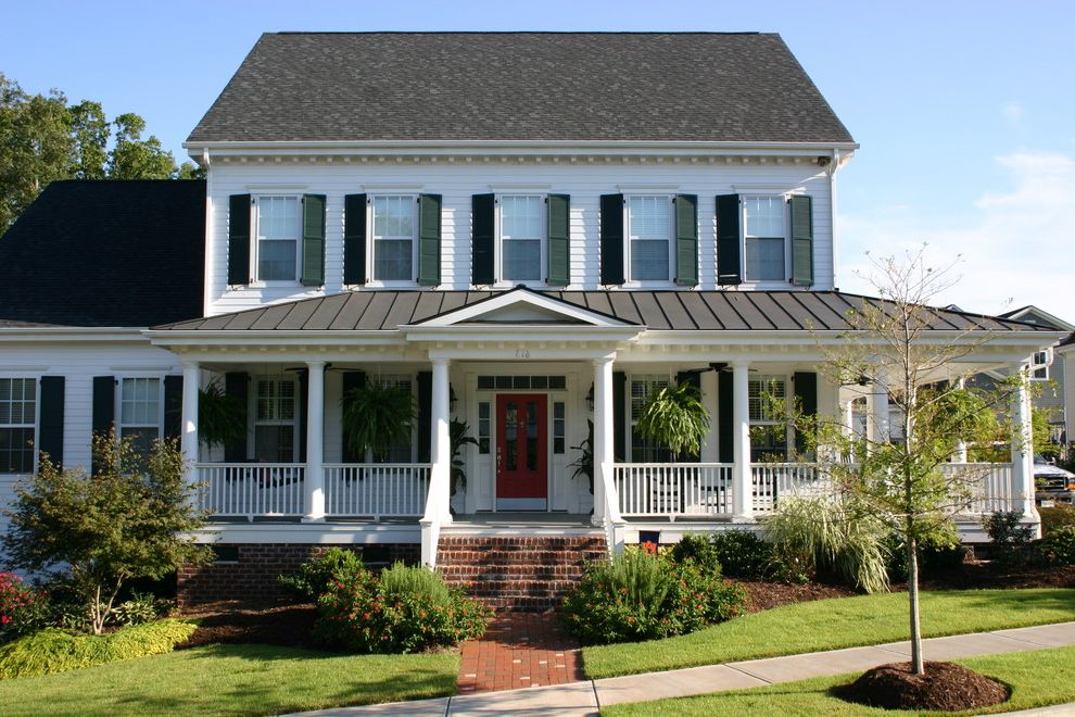 Roof Center Baltimore   Traditional Exterior  and Brick Deep Porch Gable Roof Grass Lap Siding Lawn Metal Roof Plantation House Rear Garage Shutters Southern Style Tapered Columns Transom Window Wrap Around Porch