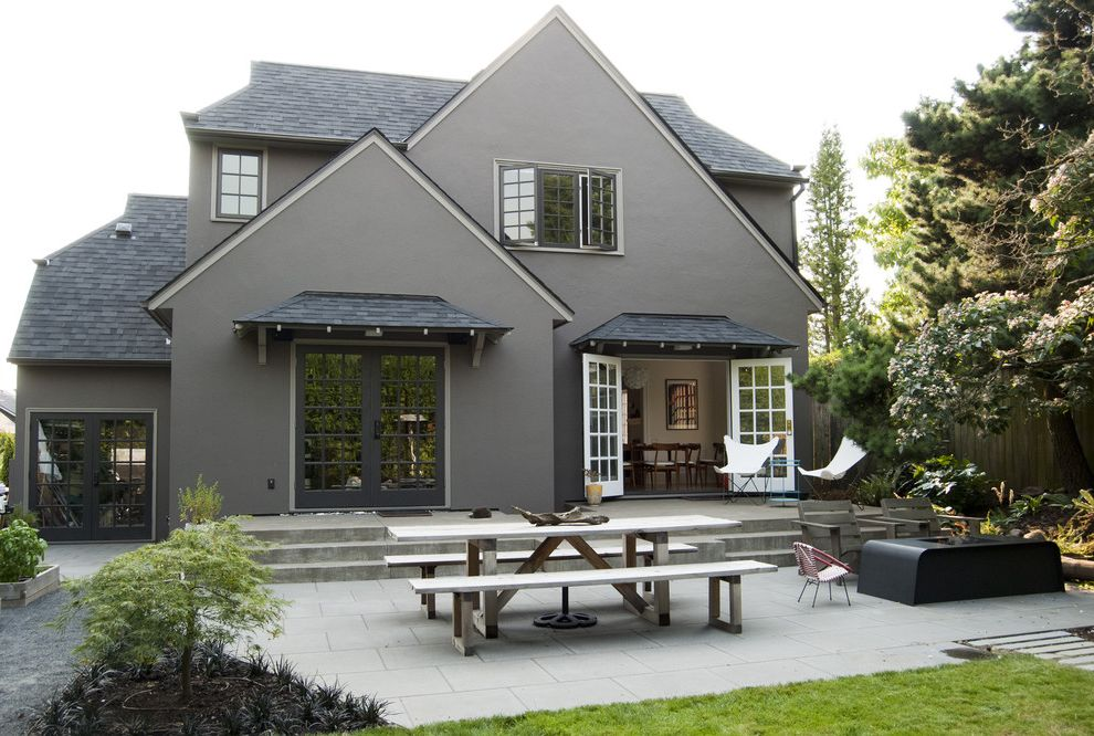 Roof Shingle Colors   Traditional Exterior  and Adirondack Chairs Black Roof Brown Exterior Brown House Butterfly Chairs Concrete Fire Pit French Doors Gray Exterior Gray House Picnic Table Steps Stucco