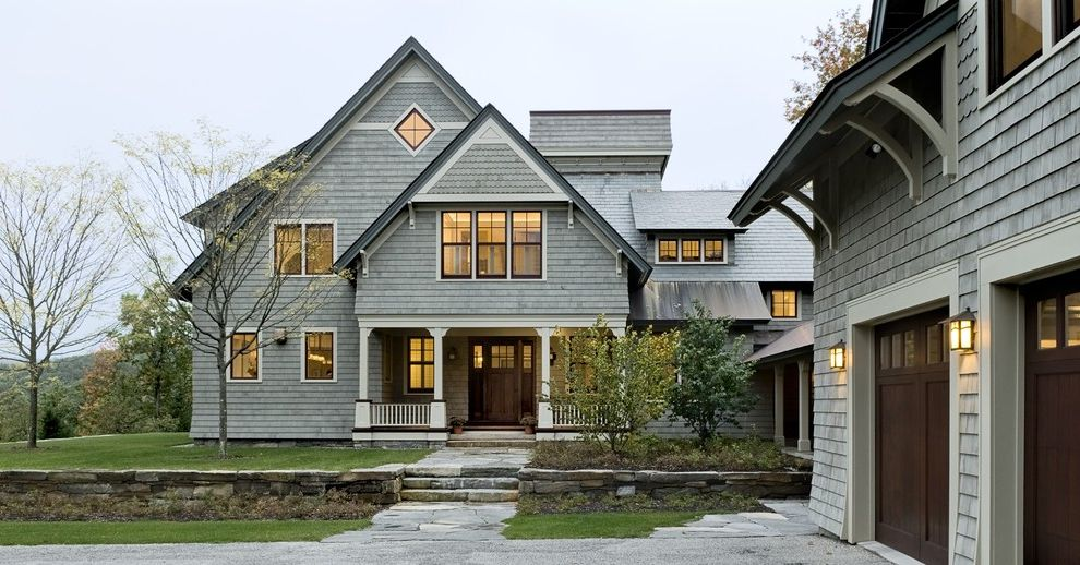 Roof Shingle Colors   Victorian Exterior Also Dormer Windows Eaves Entrance Entry Garage Garage Doors Grass Lanterns Lawn Outdoor Lighting Overhang Pavers Porch Retaining Walls Shingle Siding Stone Paving Stone Wall Turf White Wood Wood Trim