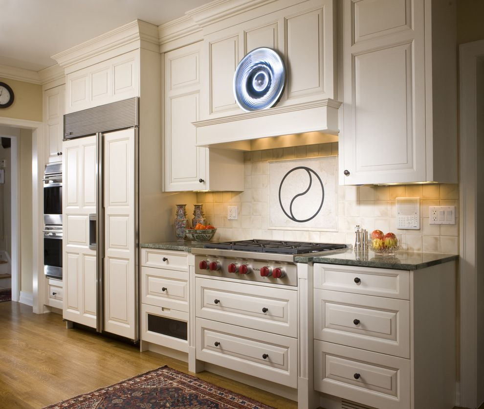 Roof Vent for Range Hood   Traditional Kitchen  and Cottonwood Mills Integrated Kitchen Ivory Off White Oriental Rug Raised Panel Stainless Appliances Sub Zero Tile Backsplash White Custom Cabinets White Paint and Glaze Wolf Wood Floor Wood Hood Yin Yang