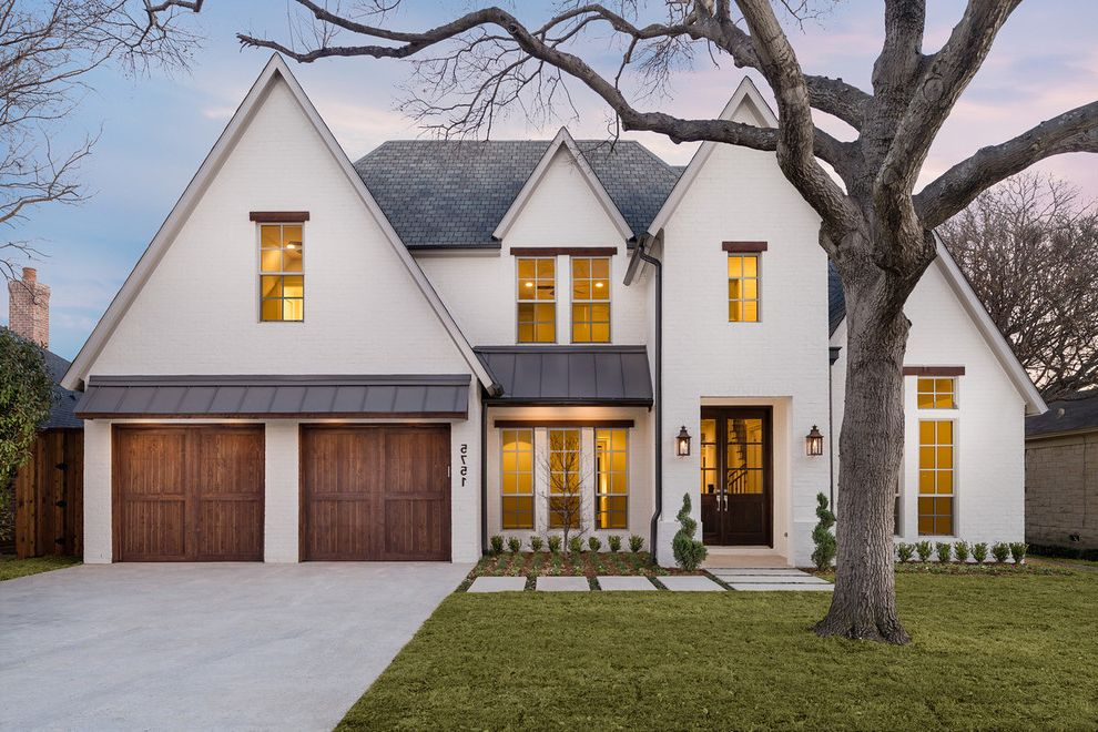 Roofing Companies Nashville Tn with Transitional Exterior  and Coach Lights Covered Entrance Double Car Garage Gray Shingle Roof White House White Window Grids Wooden Garage Door