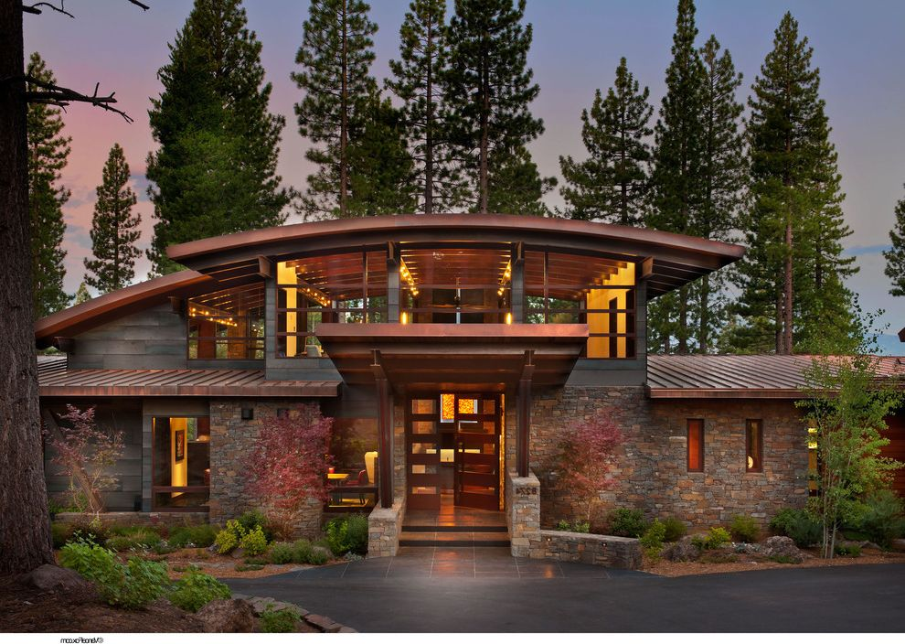 Roofing San Rafael   Rustic Exterior Also Arched Ceiling Arched Roof Beams Dry Stack Entry Front Door Metal Roof Rustic Wood Stone