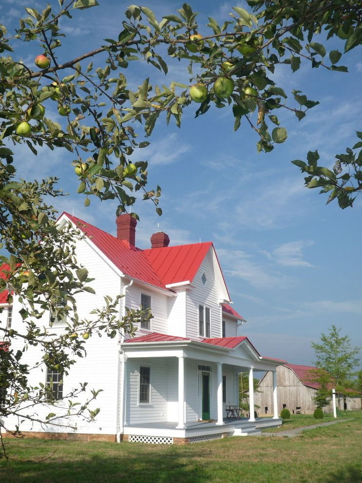 Roofing San Rafael with Farmhouse Exterior  and Farmhouse Grass Lawn Metal Roof Porch Red Roof Restoration Turf White House Wood Siding