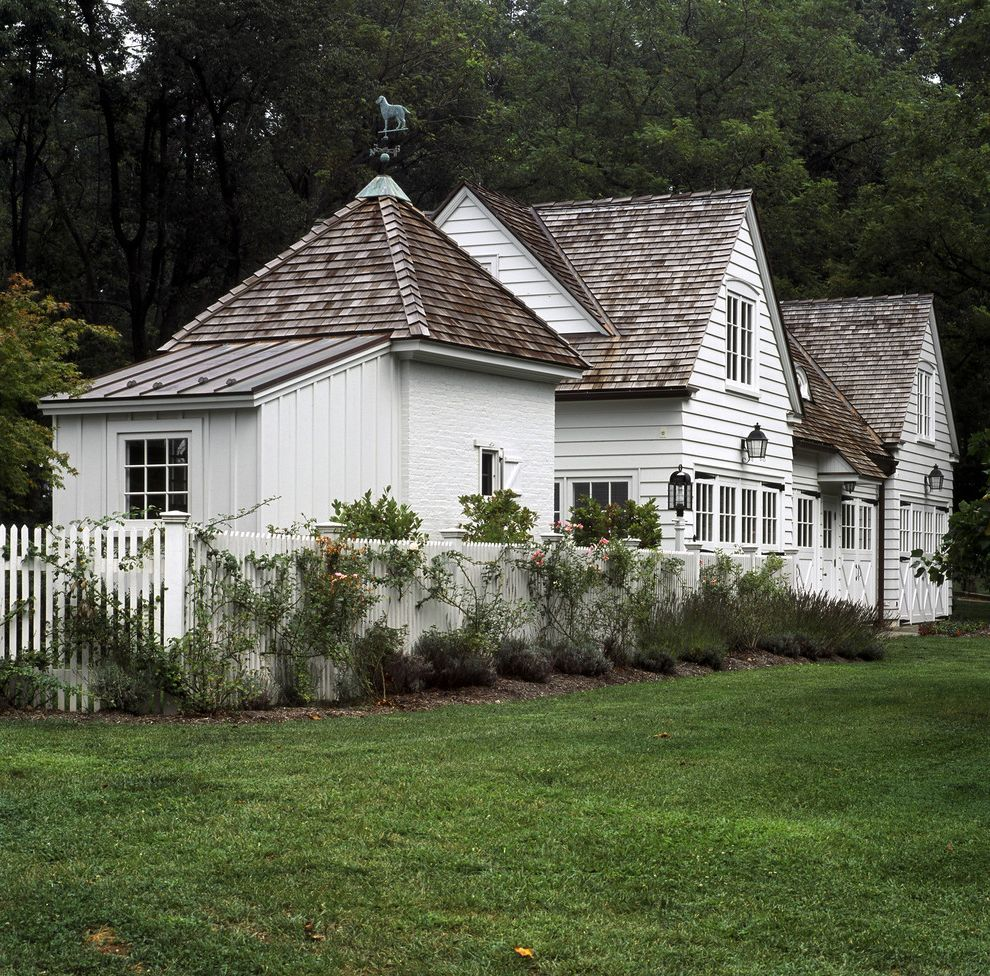 Roofing Shingles Cheap with Traditional Exterior Also Board and Batten Carriage House Cedar Shingles Cottage English Cottage French Window Guest Suite Home Office Landscape Lantern Lawn Picket Fence White Fence
