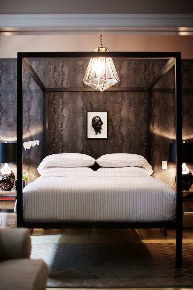 Room and Board Architecture Bed   Contemporary Bedroom Also Arteriors Flatiron District Id 810 Design Group Industrial Chic Light Wood Floors Loft Masculine Metal Console Metal Framed Canopy Bed Monochromatic Rue Magazine Shagreen Wallpaper