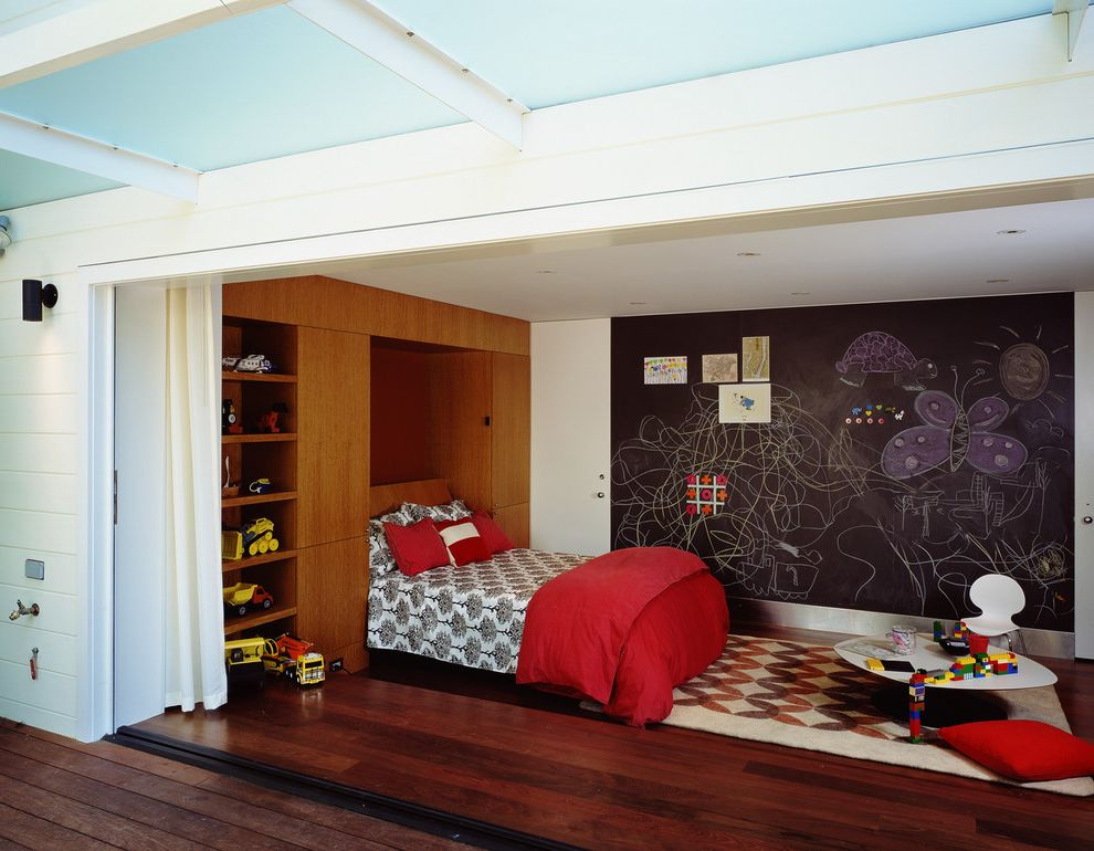 Room and Board Architecture Bed with Contemporary Kids Also Area Rug Bedroom Built in Ceiling Lighting Chalkboard Wall Curtains Drapes Folding Doors Playroom Recessed Lighting Red Pillow Shelving Toy Storage Wood Flooring Wood Siding