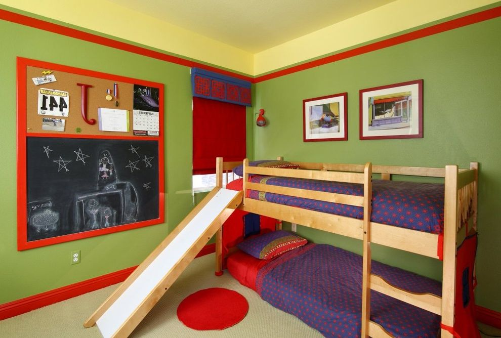 Room and Board Architecture Bed with Contemporary Kids  and Bedroom Bold Color Bulletin Board Bunk Beds Chalkboard Green Walls Ikea Painted Ceiling Red Trim Slide Twin Beds Valance Wall Art Wall Decor Window Treatments Wood Trim