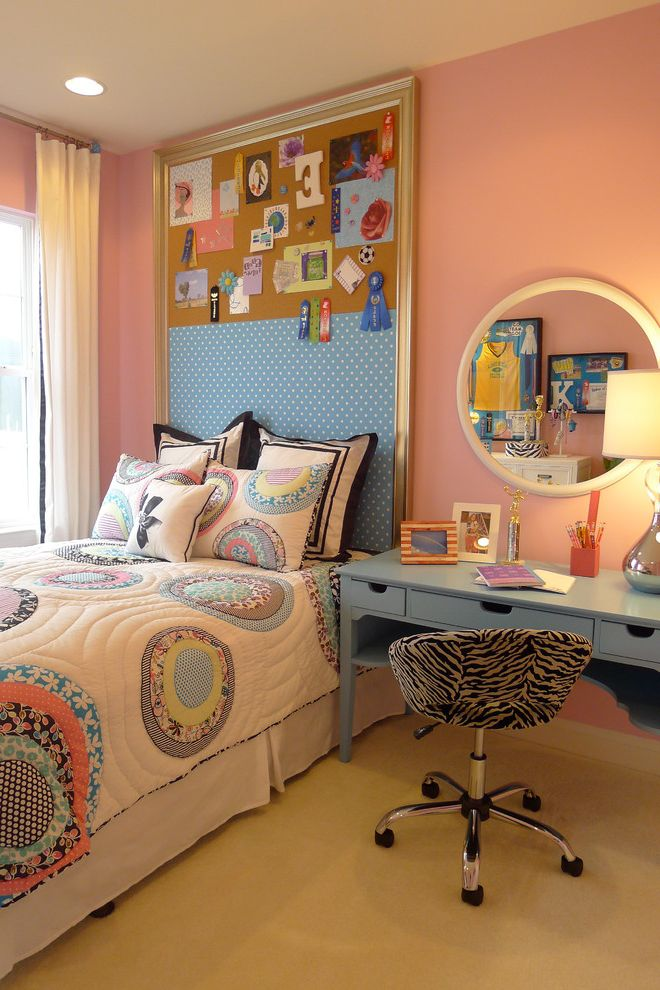 Room and Board Outlet   Contemporary Kids  and Bed Pillows Bedroom Bulletin Board Bulletin Board Headboard Colorful Quilt Girls Room Inspiration Board Memo Board Pink Walls Round Mirror Twin Bed Wooden Desk Zebra Print