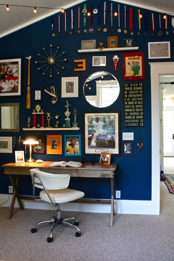 Room Place Credit Card   Traditional Kids Also Eclectic Art Gallery Wall Home Office Navy Blue Painted Wall Navy Blue Wall