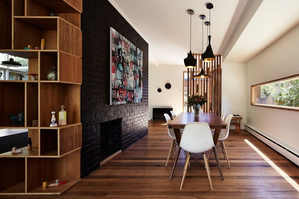 Room Place Credit Card with Contemporary Dining Room Also Abstract Art Black Painted Brick Contemporary Art Ribbon Window Tom Dixon Beat Lights