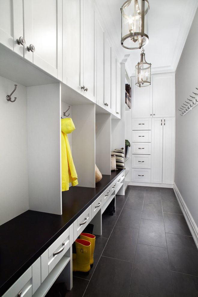 Room Place Credit Card with Contemporary Entry  and Black Bench Black Tile Floor Coat Hooks Gray Grey Kids Storage Light Gray Walls Lockers Mud Room Pendant Lanterns Pendant Light Storage Tile Yellow Rain Boots