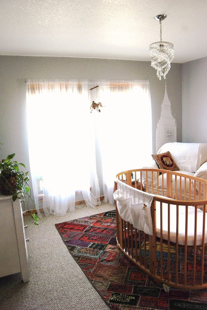 Rooms to Go Cribs with Eclectic Nursery and Area Rug Chandelier Crib Curtains Drapes Neutral Colors Nursery Wall Decal Wall Decor Window Sheers Window Treatments Wooden Crib
