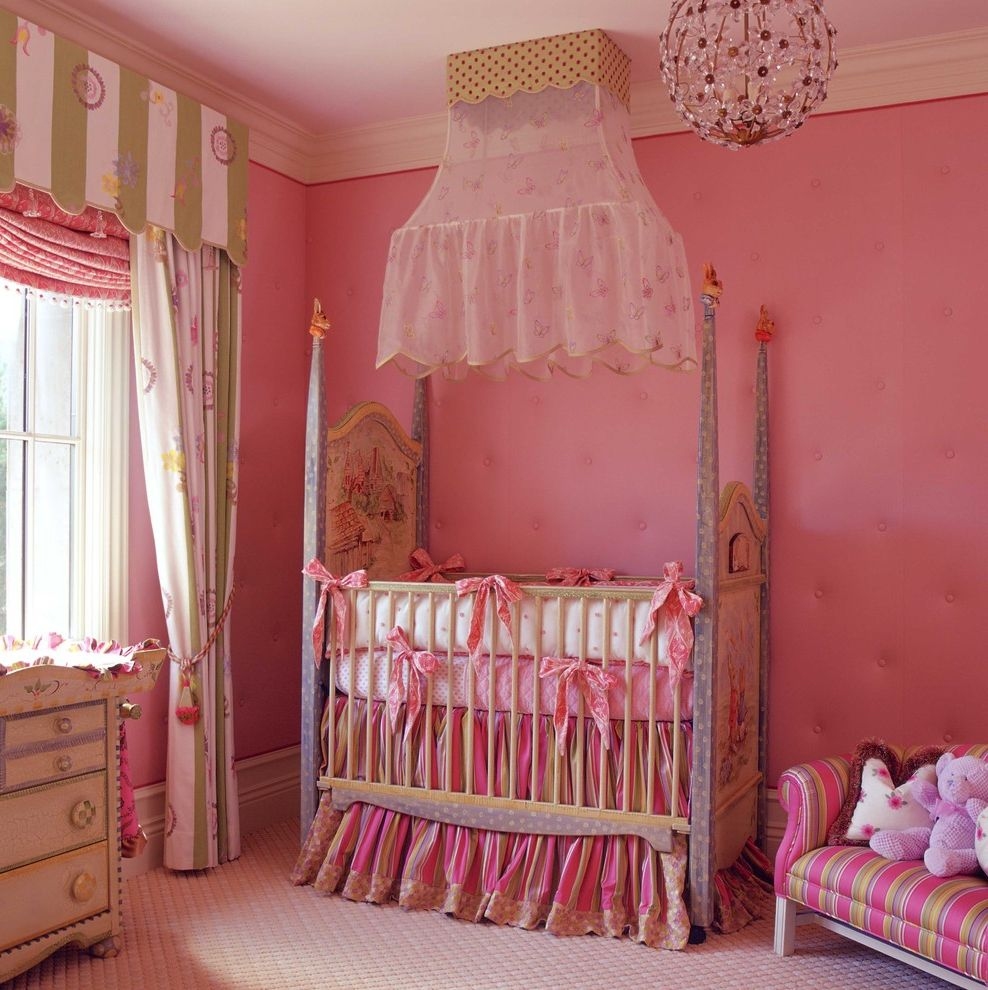 Rooms to Go Cribs with Traditional Nursery and Bed Carpet Chandelier Cottage Drapes Fabric French Pink Pink Chandelier Romantic Window Treatment