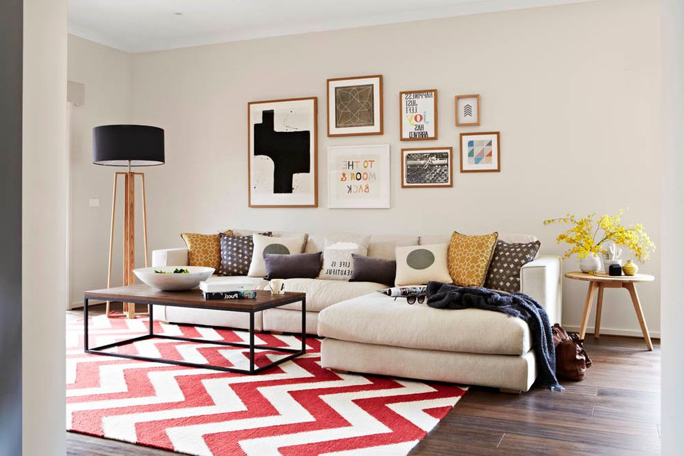 Rooms to Go Rugs   Contemporary Living Room  and Chevron Rug Coffee Table Colourful Framed Art Picture Wall Sectional Tall Lamp