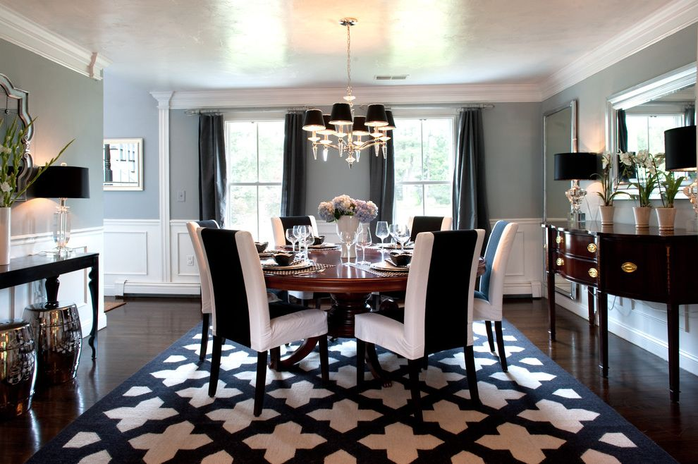 Rooms to Go Rugs   Traditional Dining Room Also Area Rug Black Chandelier Chrome Stools Console Table Curtain Panels High Gloss Ceiling Dark Stained Wood Floor Gray Walls My Houzz Round Dining Table Upholstered Dining Chairs Wainscot White