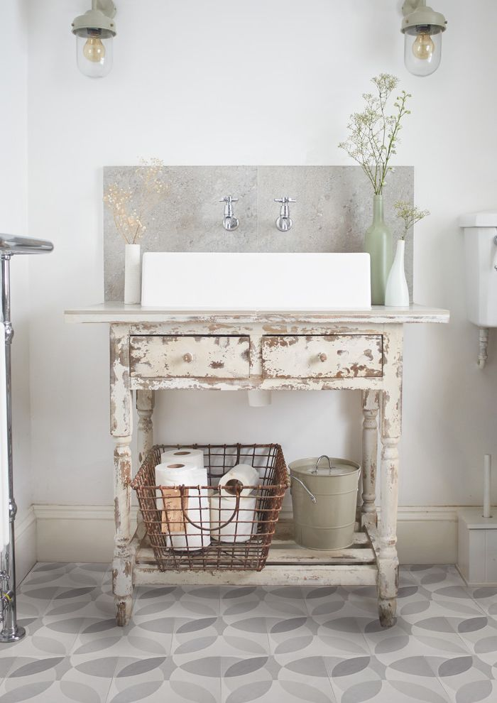 Rough Country Rustic Furniture with Shabby Chic Style Bathroom  and Basket Bold Cement Tiles Granito Tiles Graphic Leaf Modern Organic Retro Tile Pattern Tiles Vanity Unit Wall and Flooring Wire Basket
